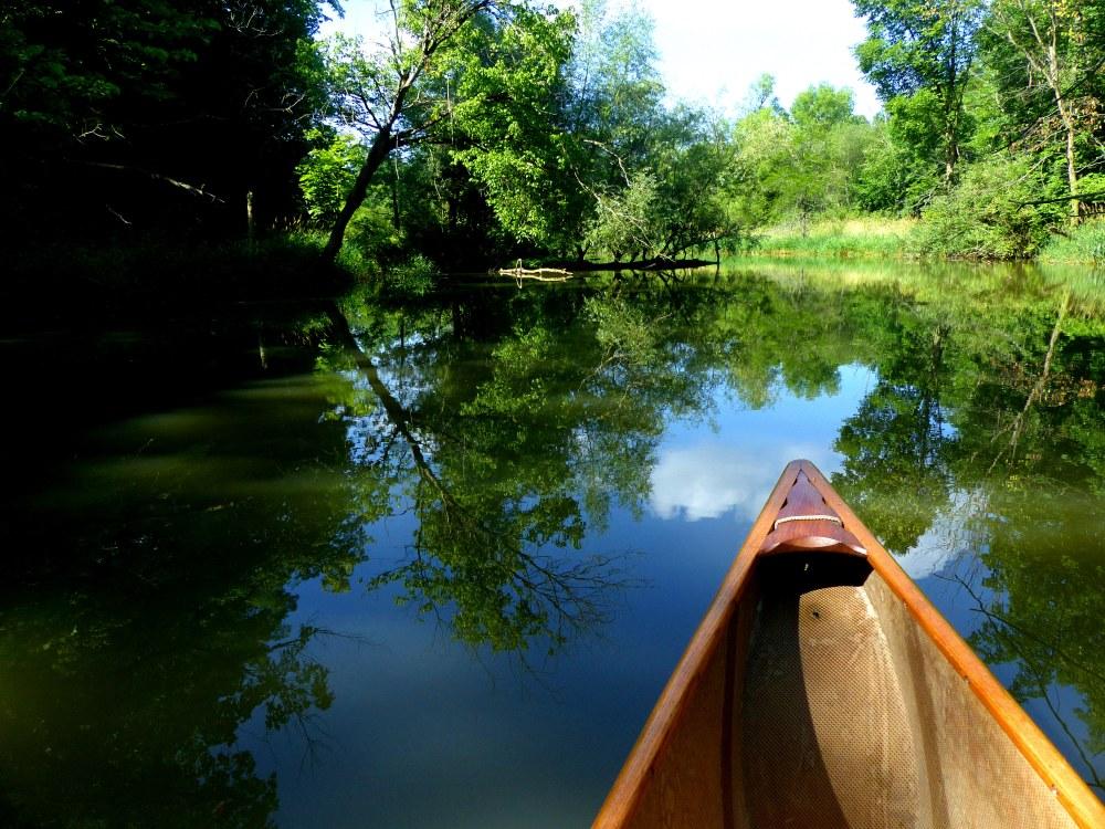Water reflections w canoe1 062918 Alum Creek paddle fz200 fix
